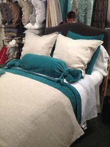 Teal Velvet & Cream Linen Bedding