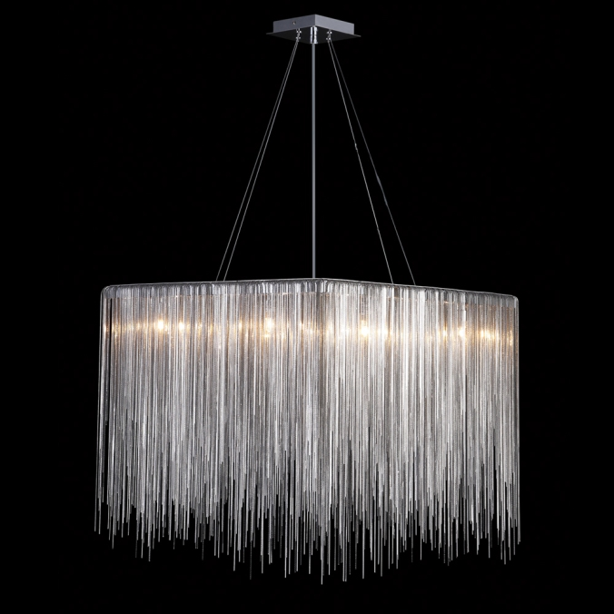 Square Silver Chain Chandelier